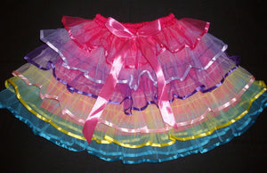 Layered Tulle Dance or Ballet Skirt Rainbow