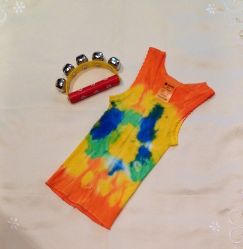 Tie Dyed Baby Singlet Size 0  Orange, Blue, Green, Yellow Combination.