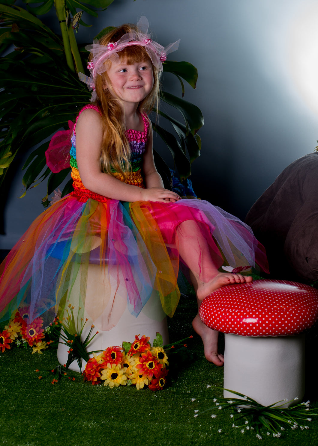 Rainbow Fairy Dress with Wings