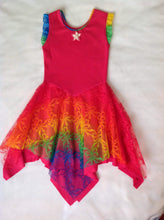 Layered Rainbow Lace Princess Fairy Dress Hot Pink With Ruffle Sleeve