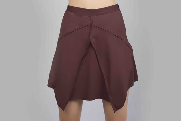 Symmetrical Mini Skirt - Burgundy