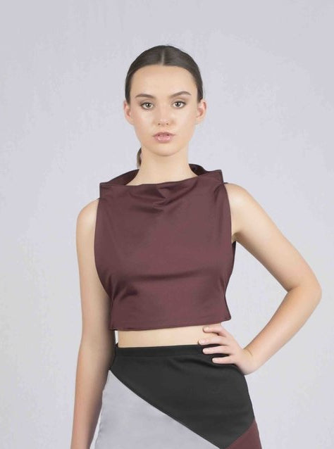 Plat Straight Crop Top - Burgundy