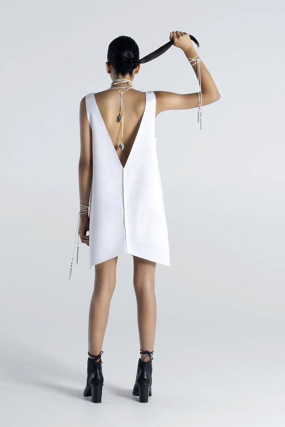 Plunging V Dress - White