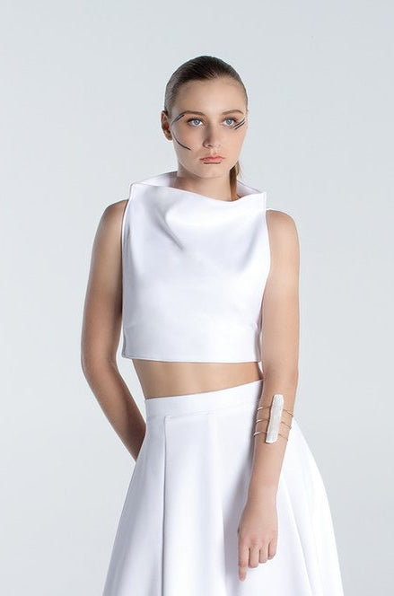 Plat Straight Crop Top - White