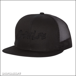 BLACK on BLACK Script snapback mesh hat