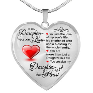 To My Daughter In Law You are My Daughter In Heart Heart Pendant Necklace - Fashionura