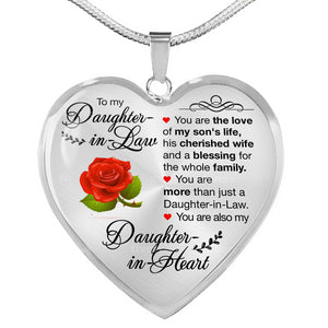 To My Daughter in Law Heart Pendant Necklace - Fashionura
