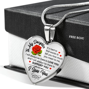 To My Daughter I will always be there for you Heart Necklace - Fashionura