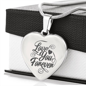 Valentine Collection - Etched Love You Forever Heart Necklace - Fashionura