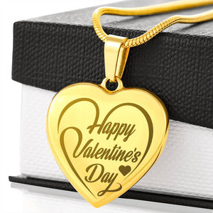 Valentine Collection - Etched Happy Valentine's Day Heart Necklace - Fashionura