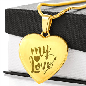 Valentine Collection - Etched My Love Heart Necklace - Fashionura