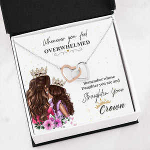 To Daughter Crown To My Daughter Interlocking Hearts Necklace - Fashionura