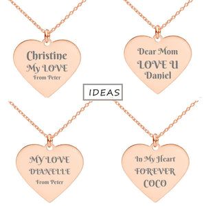 Affirmation Courage Strength Peace Engraved Heart Necklace - Fashionura