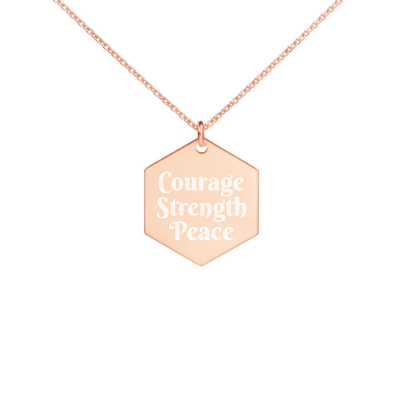 Affirmation Courage Strength Peace Engraved Hexagon Necklace - Fashionura