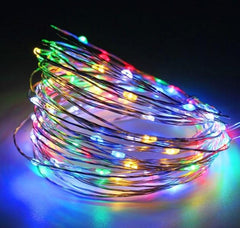 5 Meter 50 Led Silver Wire Battery Operated , 8 Colors Available.