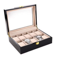 10 Slots Glossy Carbon Fiber Wood Watch Storage Box