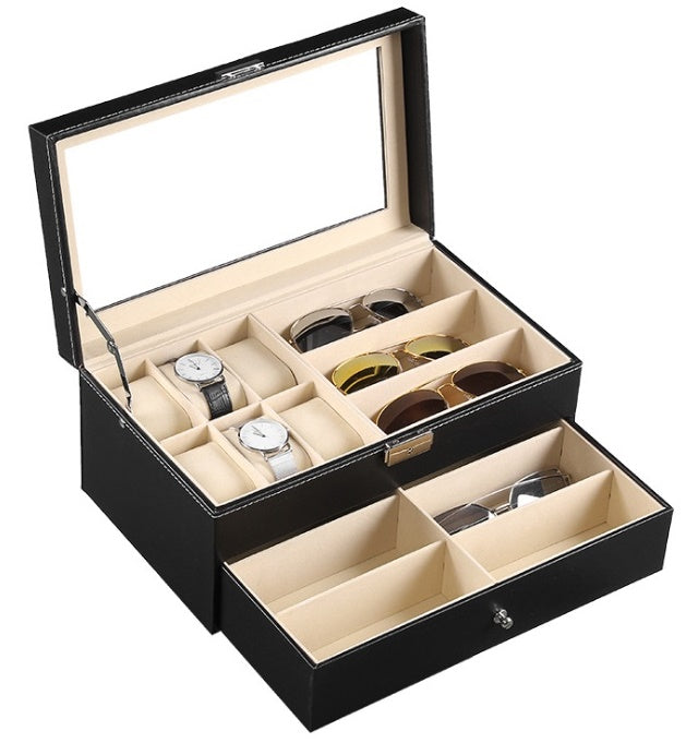 2 Tier Black PVC Spectacles + Watch Storage Box - Starzdeals