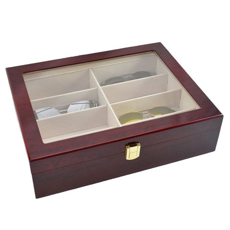 8 Slots Rose Wood Spectacle Storage Box