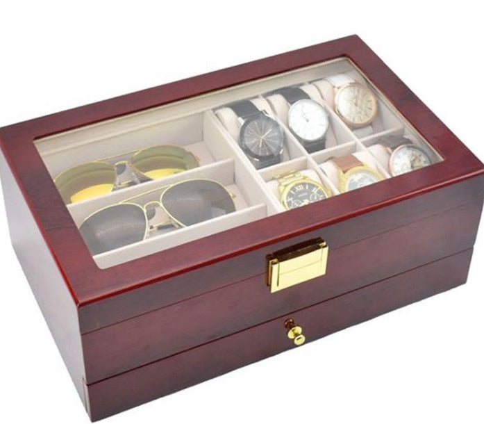 2 Tier Rose Wood Watch + Specs + Jewelry Storage Box