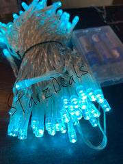 10 Meter 100 Led Battery Operated String Light - Cyan