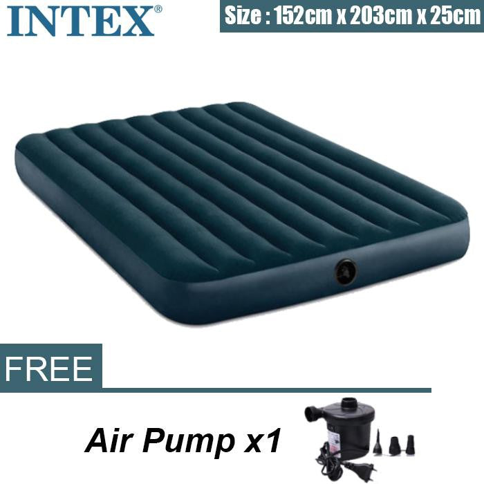 Intex Air Bed Fiber Tech Dura Beam Super Queen(1.52) Inflatable Air Bed Green + Electric Pump - Starzdeals