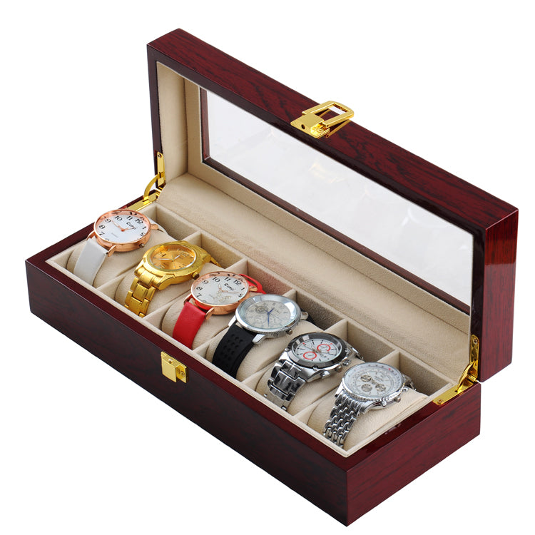 6 Slots Rose Wood Watch Storage Box - Starzdeals