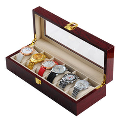 6 Slots Rose Wood Watch Storage Box.