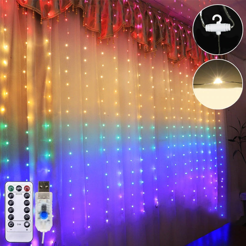 3 Meter x 1.8 Meter 240 Led Battery + USB Silver Wire Rainbow Curtain Lights.