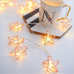 5 Meters 20 Rose Gold Stars Fairy String Light Power Point , Warm White Static Mode