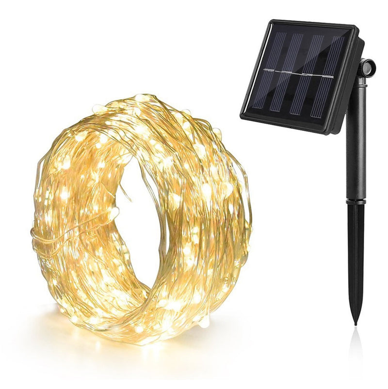 Solar ed Power 8 Modes - 10 Meter 100 Led Silver Wire , Warm White