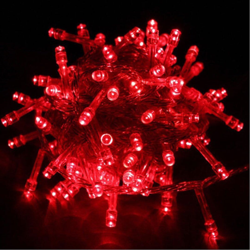 Static Mode - 10 Meter 100 Led Fairy String Light Power Point , Red