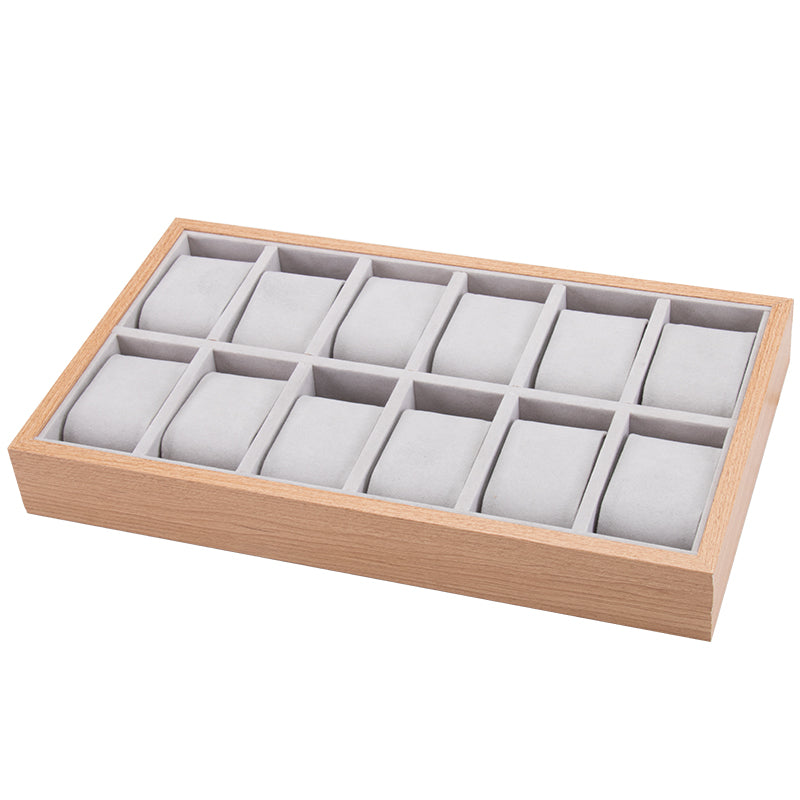 12 Slots Wooden Watch Storage Tray