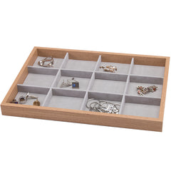 12 Slots Wooden Jewelry Storage Tray