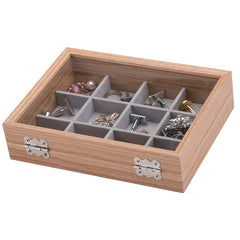 12 Slots Small Wooden Jewelry Storage Box