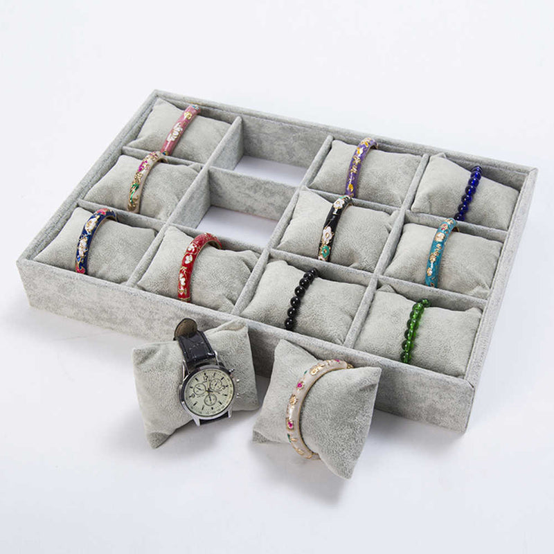 12 Slots Tray with Soft Cushion Pillows Watch Jewelry Display Storage Box