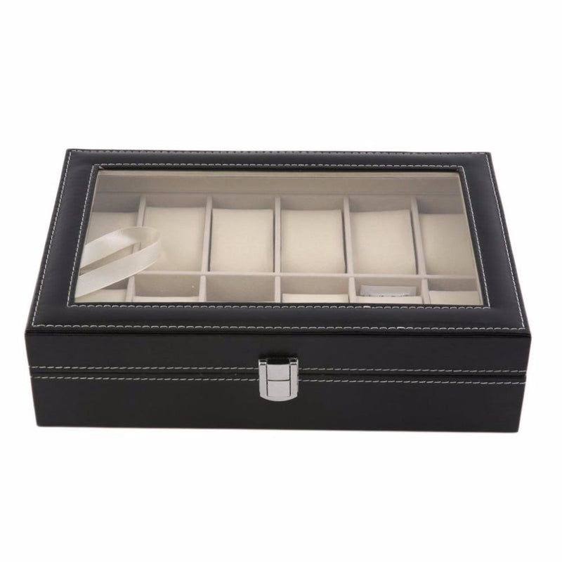 12 Slots Black PVC Watch Storage Box