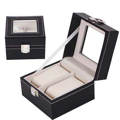 2 Slots Black PVC Watch Storage Box - Starzdeals
