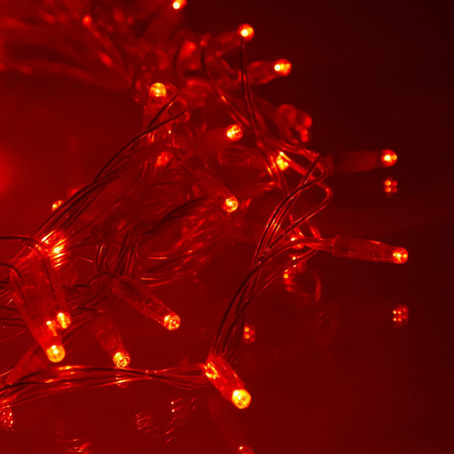 8 Modes - 10 Meter 100 Led Fairy String Light Power Point , Red