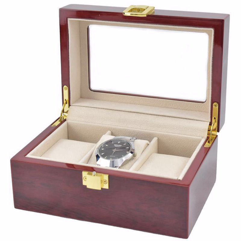 3 Slots Rose Wood Watch Storage Box.