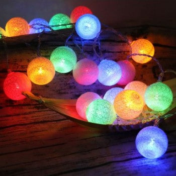 Battery Operated - 5 Meter 50 (4 cm) Cotton Balls Fairy String Light , Multi