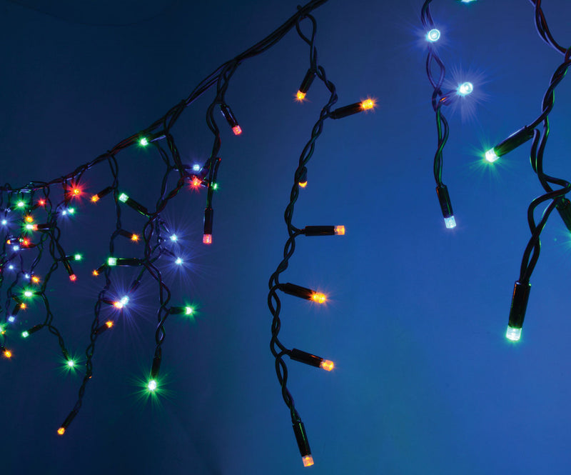 Fully Outdoor - 3 Meter x 100 Led Fairy Curtain Lights, Black String Multi