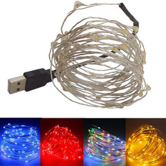 Static Mode - 10 Meters 100 Led USB Silver Wire String Light, Multi