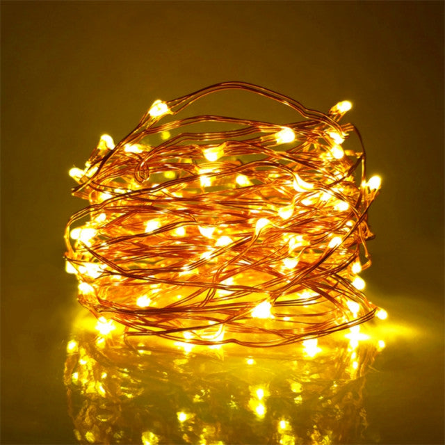 10 Meter 100 Led Battery Operated Silver/Copper Wire , 2 Colors Available.