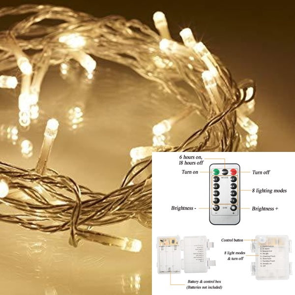10 Meter 100 Led Battery Operated String Light Warm White, 8 Modes