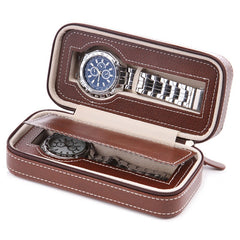 2 Slots Travel Watch Case - Brown.