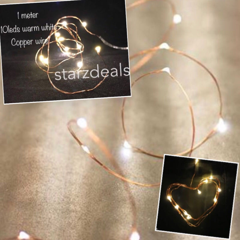 1 Meter 10 Led Copper/Silver Wire Warm White Battery Operated,Warm White - Starzdeals