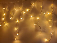 Fully Outdoor - 3 Meter x 100 Led Fairy Curtain Lights, White String Warm White Static Mode