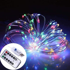 10 Meters 100 Led USB Silver Wire with 8 Modes + Remote Control, Multi