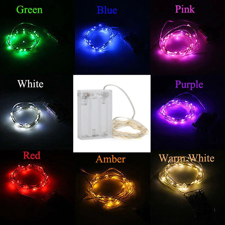 5 Meter 50 Led Silver Wire Battery Operated , 6 Colors Available - Starzdeals