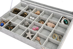 Velvet Jewelry Box - 24 Square Slots with Glass Cover
